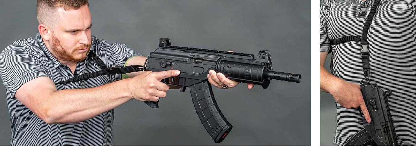 Man braces Single Point Rifle Sling while shooting IWI ACE Galil Pistol