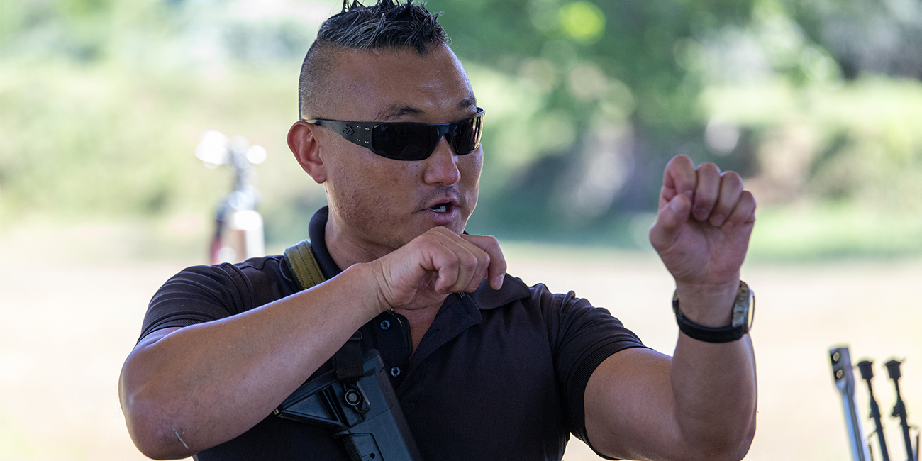 Matthew Brockmann from MAST Solutions demonstrates fundamentals of rifle manipulation
