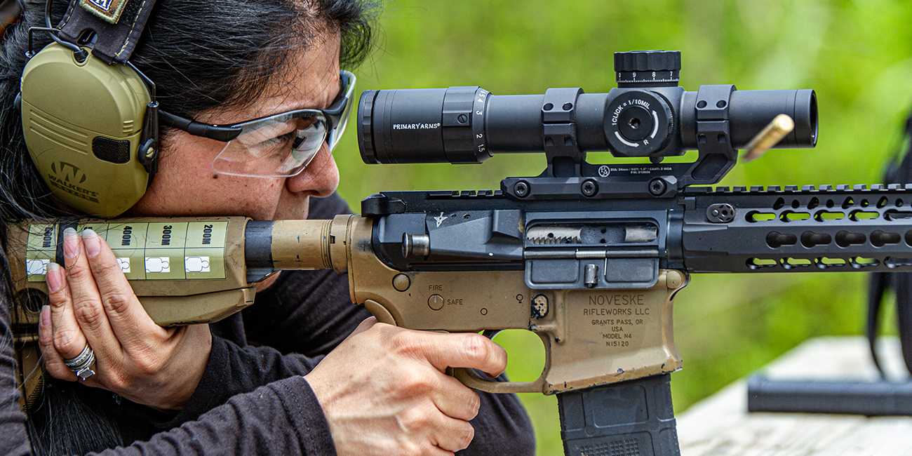 Marksman safely aims down a Primary Arms LPVO to hit the target with a Noveske AR15