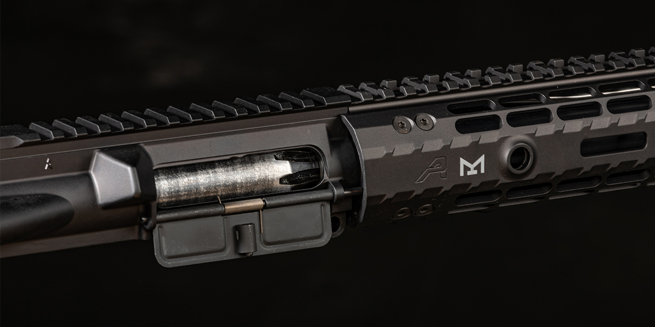 Close up view of Aero Precision Enhanced M-LOK Handguard on AR-15 chambered in .458 SOCOM