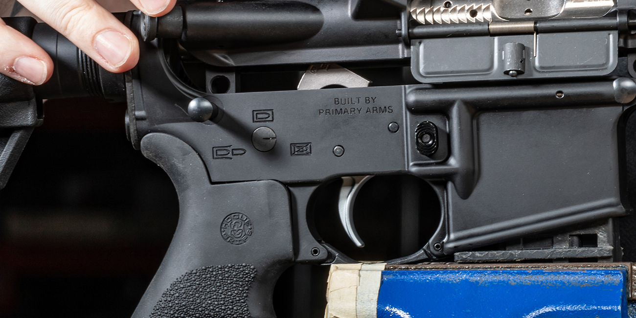 Side view of ALG Defense Combat Trigger in AR15 lower receiver built by Primary Arms