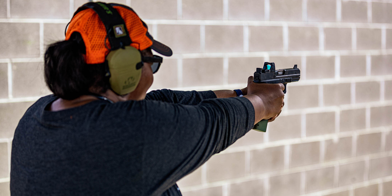 Dea shoots a Glock 19 with a Trijicon RMR and suppressor-height sights with a KAB slide.