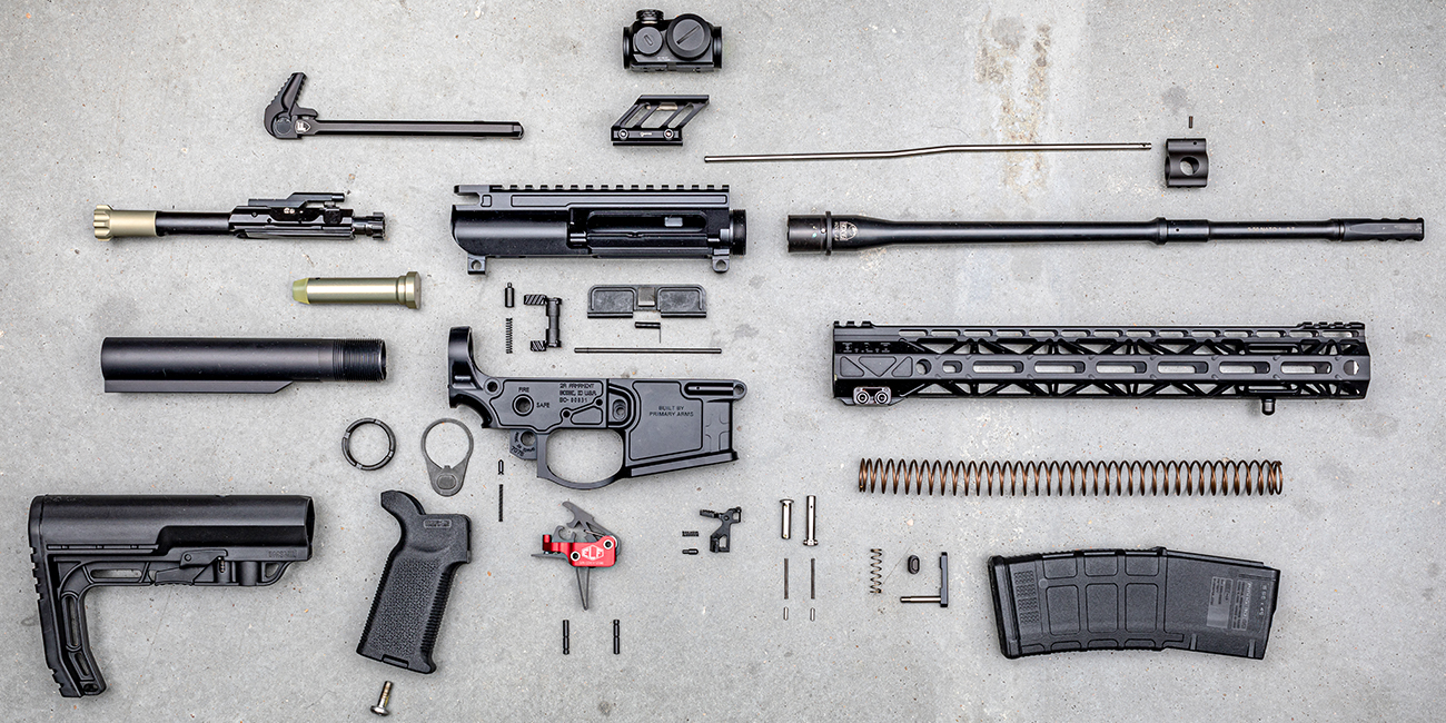 Primary Arms Lightweight AR15 Giveaway Parts spread out on concrete floor
