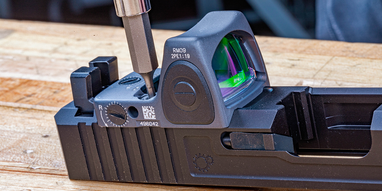 Installing a Trijicon RMR RM09 1moa LED Adjustable Micro Reflex on Primary Machine UCC V3 Glock 34 slide.
