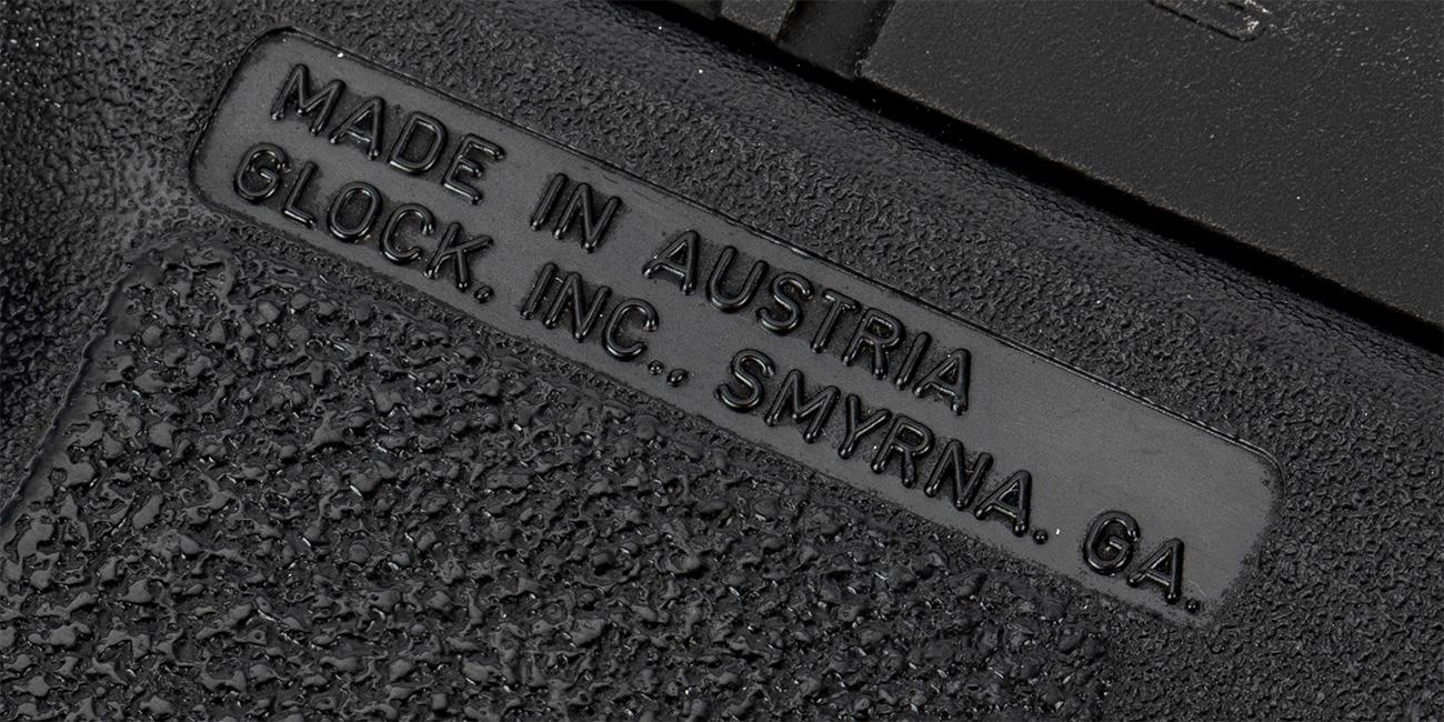 Closeup of Glock Pistols Made in Austria Smyrna, GA Logo