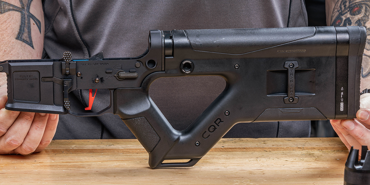 Hera Arms CQR Stock installed on San Tan Tactical AR15 Receiver set