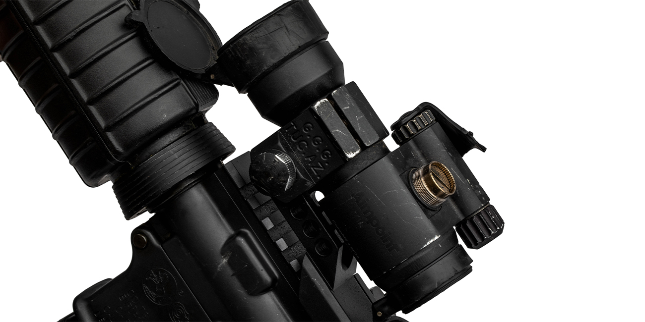 Close shot of Aimpoint Comp M2 that cannot be adjusted for Zero