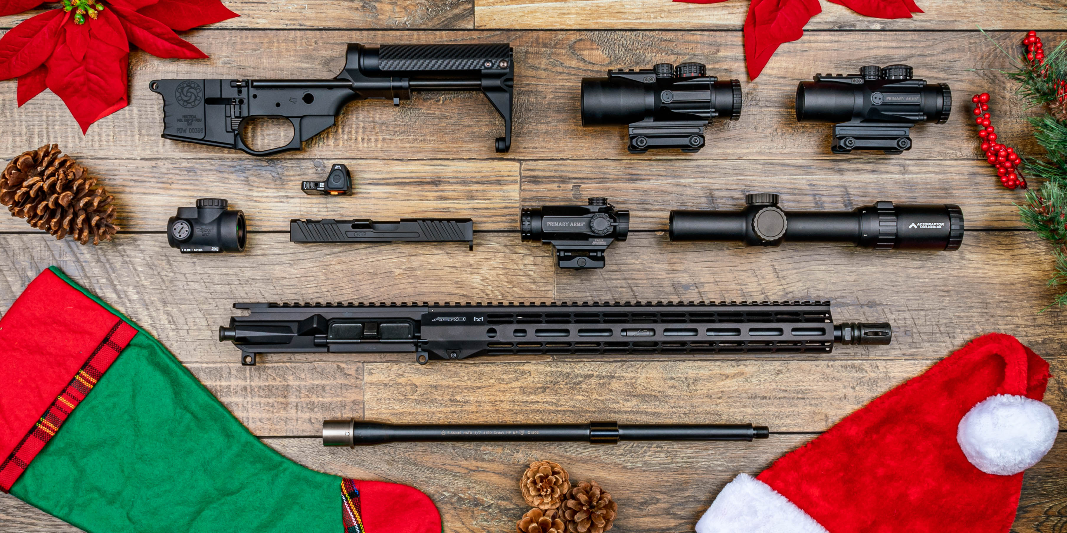 Primary Arms gifts for family including Ballistic Advantage, Primary Arms Optics, Trijicon, and Aero Precision.