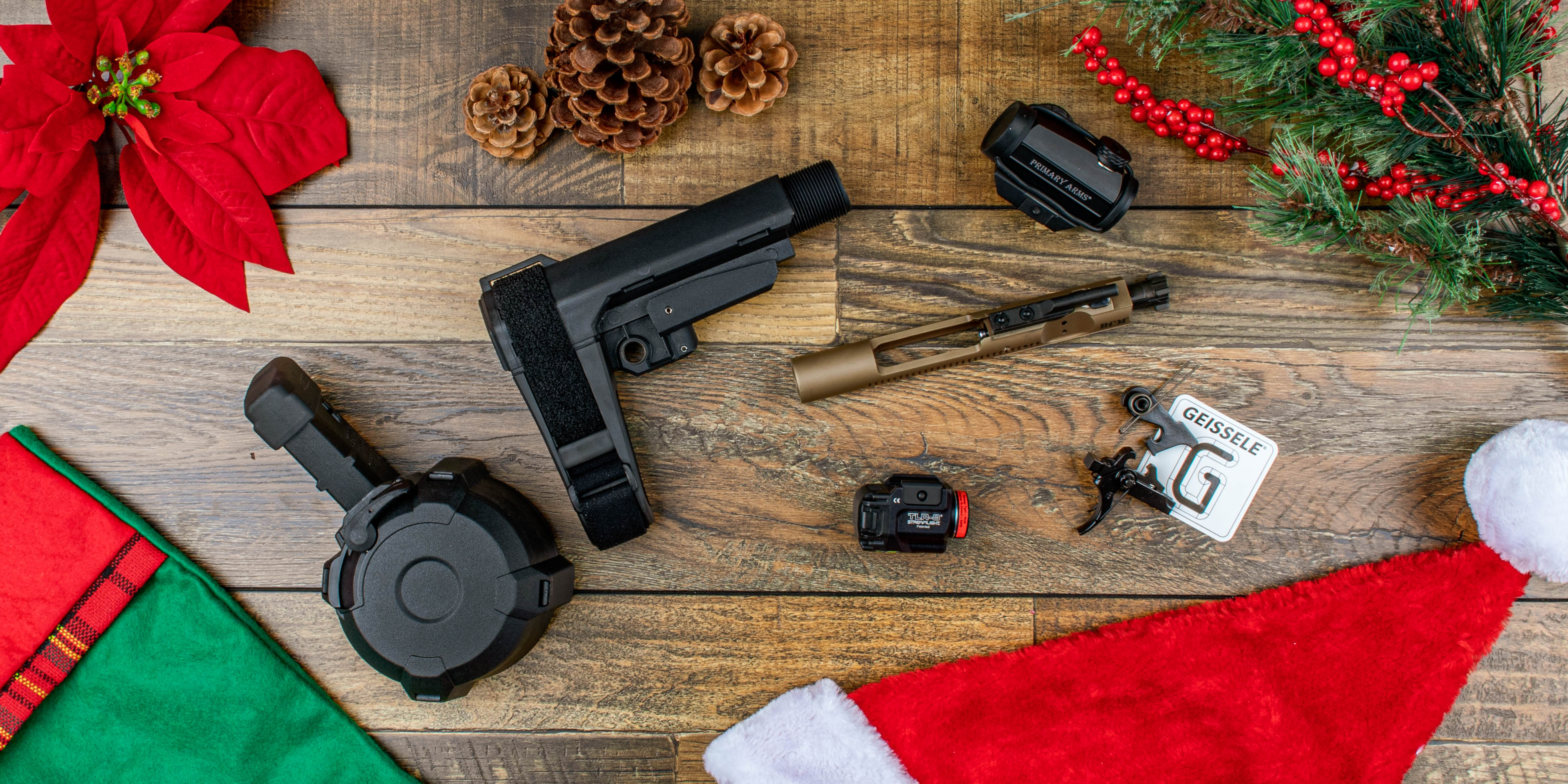 Primary Arms gifts for close friends including Magpul, SB Tactical, Geissele Automatics, and Primary Arms Optics.