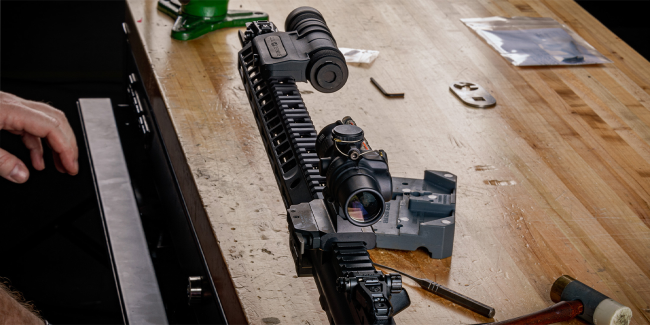 Image highlighting close-quarters accessories from Trijicon and Cloud Defensive on Home Defense AR15