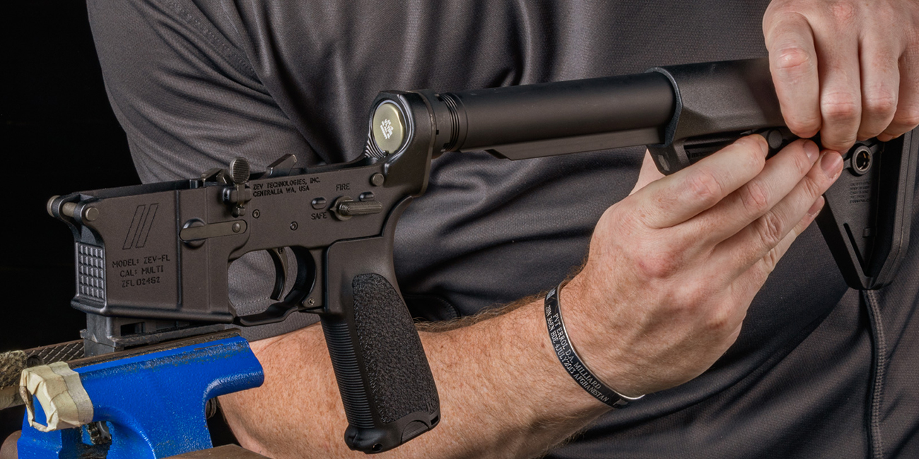 man installs a Magpul SL-S stock on a BCM A5 AR15 buffer tube assembly