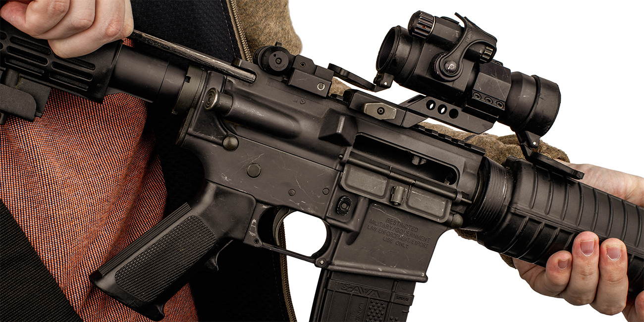 AR charging handle in use to charge the ar15