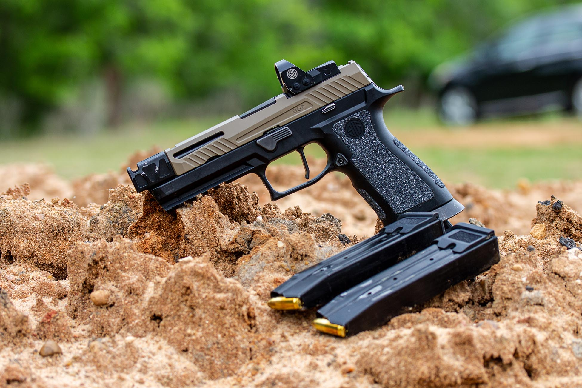 SIG P320 Pistol with 9mm Full Metal Jacket target ammunition