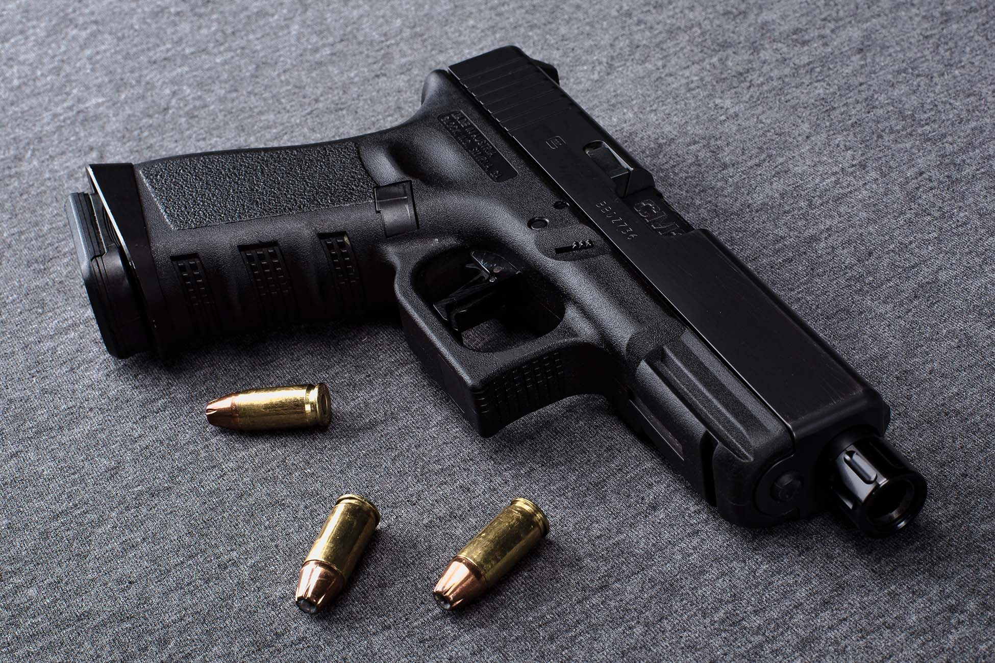 9mm Glock Pistol with jacketed hollow point ammo