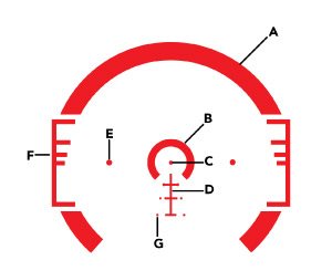 The ACSS CQB Reticle features a large CQB horseshoe and moving target leads.