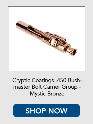 Shop now for Cryptic Coatings .450 Bushmaster Bolt Carrier Group / BCG for the AR-15.