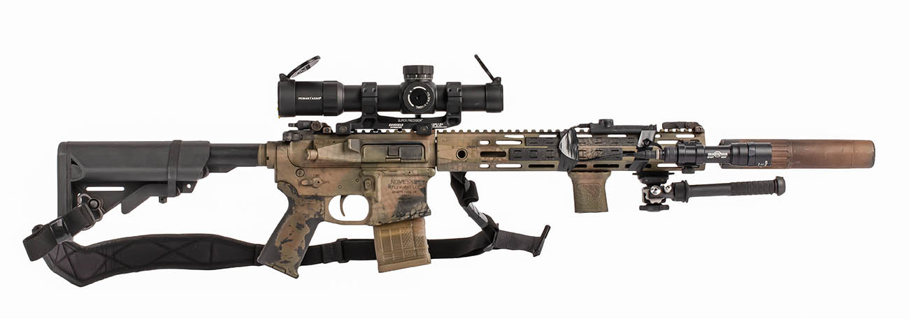 rattle can camo on this recce rifle with noveske lower receiver and silencer