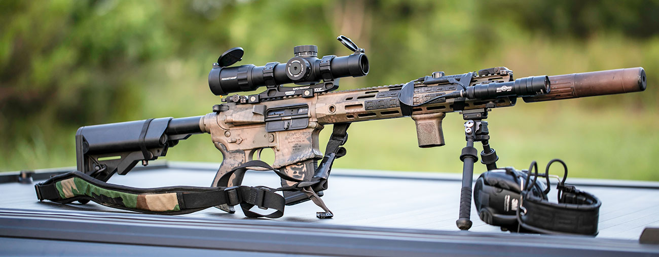 Suppressed Noveske AR-15 with a Primary Arms Platinum 1-8x Scope