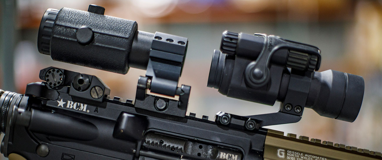 Red dot with a magnifier mounted on a BCM rifle