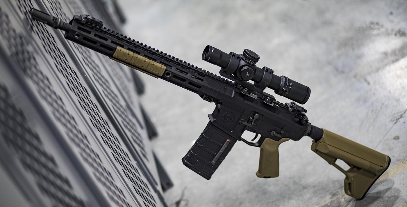 AR-308 with Trijicon Low Power Variable Optic and FDE furniture.