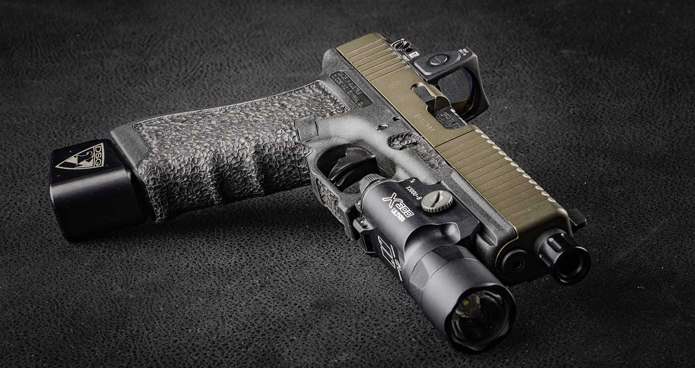 The Glock 17 with light, red dot, and stipple upgrades is the ultimate defense pistol.