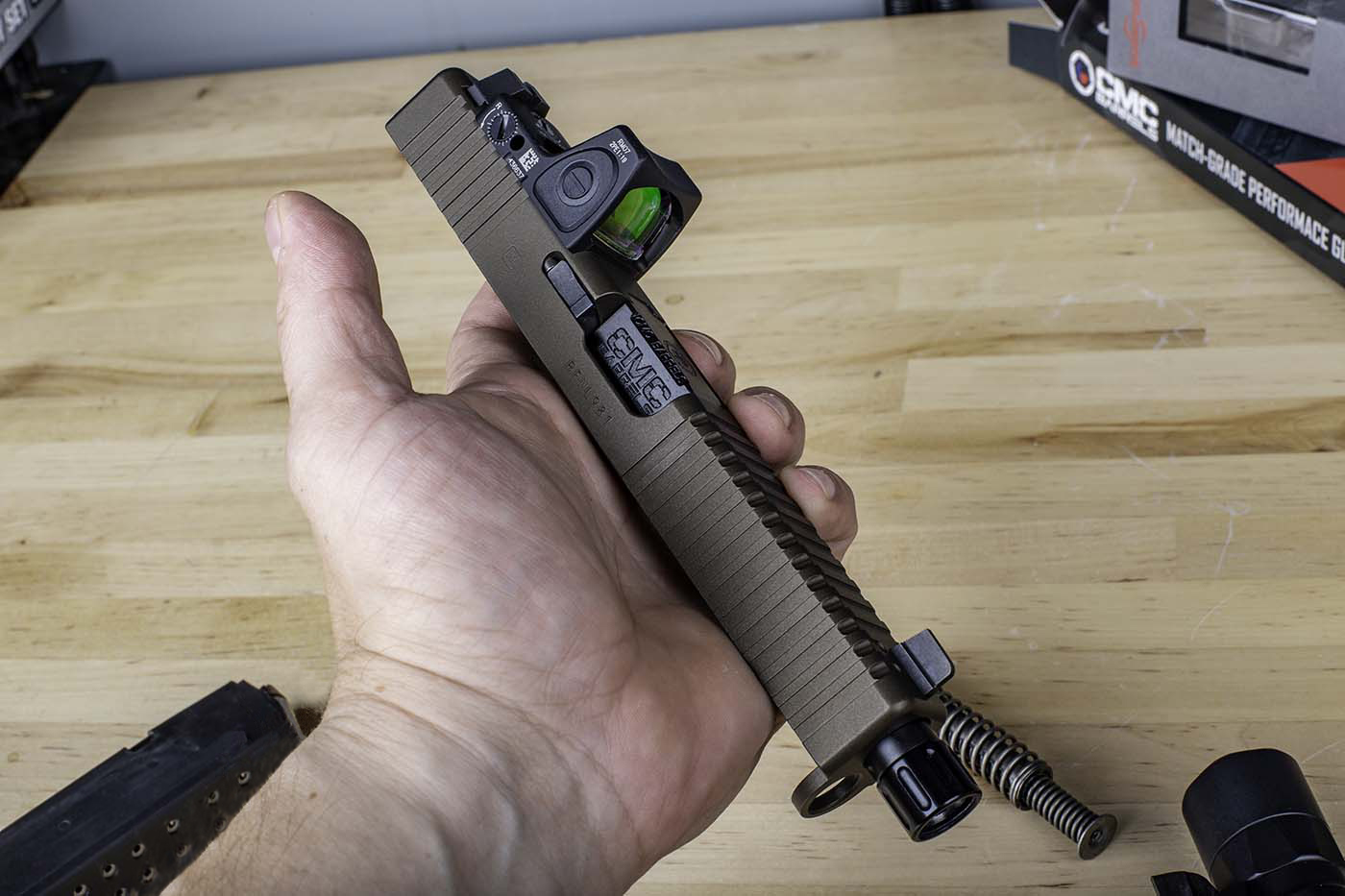 Custom slide work from SlideWorks Engineering, featuring their Combat Cut and a Trijicon RMR cutaway.