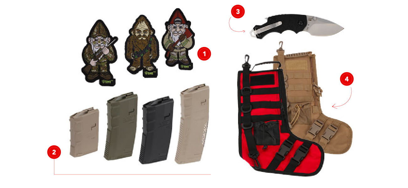 Shop Hera Arms, NcSTAR tactical stockings, Kershaw Knife, and Gnome morale patches.
