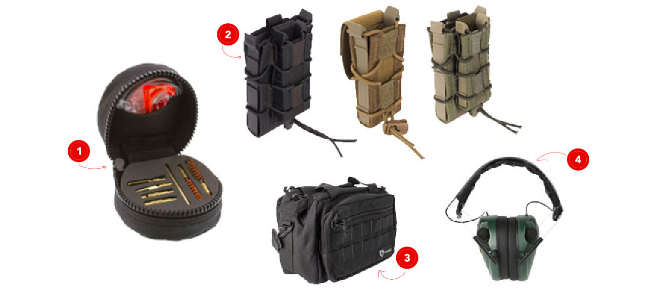 Shop High Speed Gear Magazine Taco Pouches, Caldwell Ear Protection, Otis Rifle Cleaning Kit, and Drago Gear range bag.