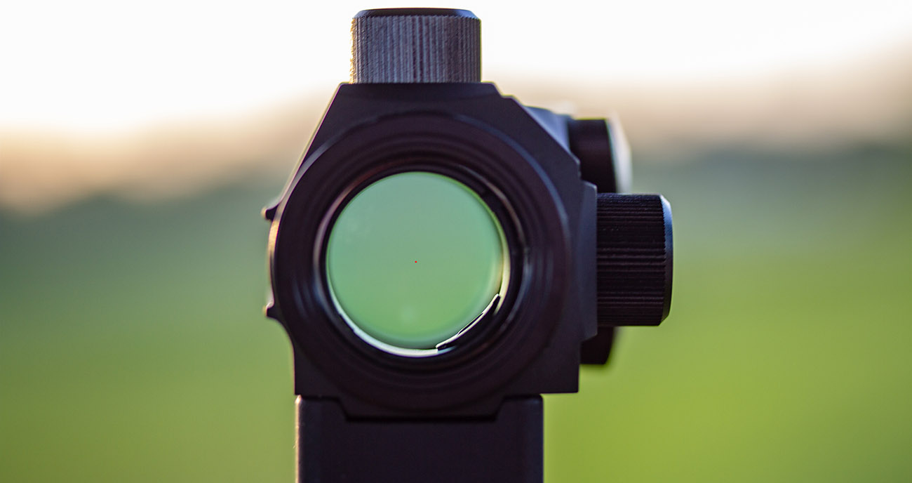 A view through the Primary Arms Advanced Micro Dot MD-ADS red dot sight.