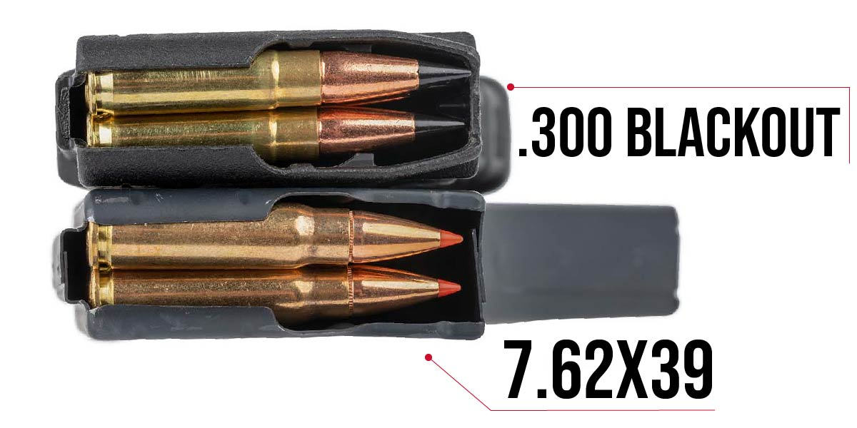 Small differences can be seen between 300 BLK magazines and 7.62x39 magazines due to the cartridges' sizes.