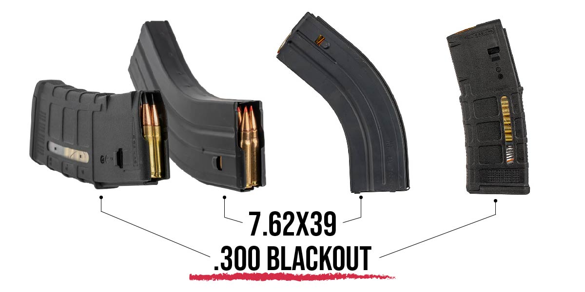 The 7.62x39 Magazine has the iconic banana shape due to the casing's walls. 300 BLK fits in standard 5.56 magazines.