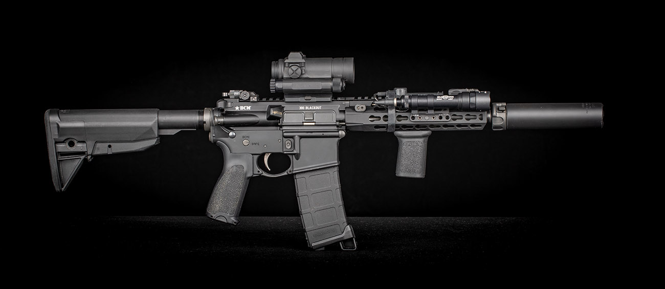 This is a suppressed 300 Blackout SBR, built with A BCM Upper receiver.
