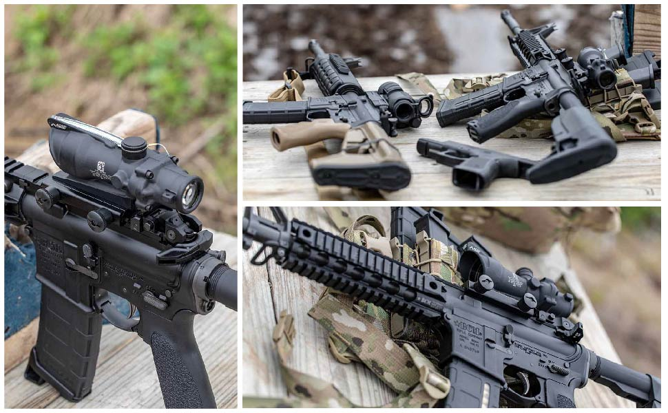 These shots show the Trijicon ACOG on a BCM Rifle, ready for zeroing at the range.