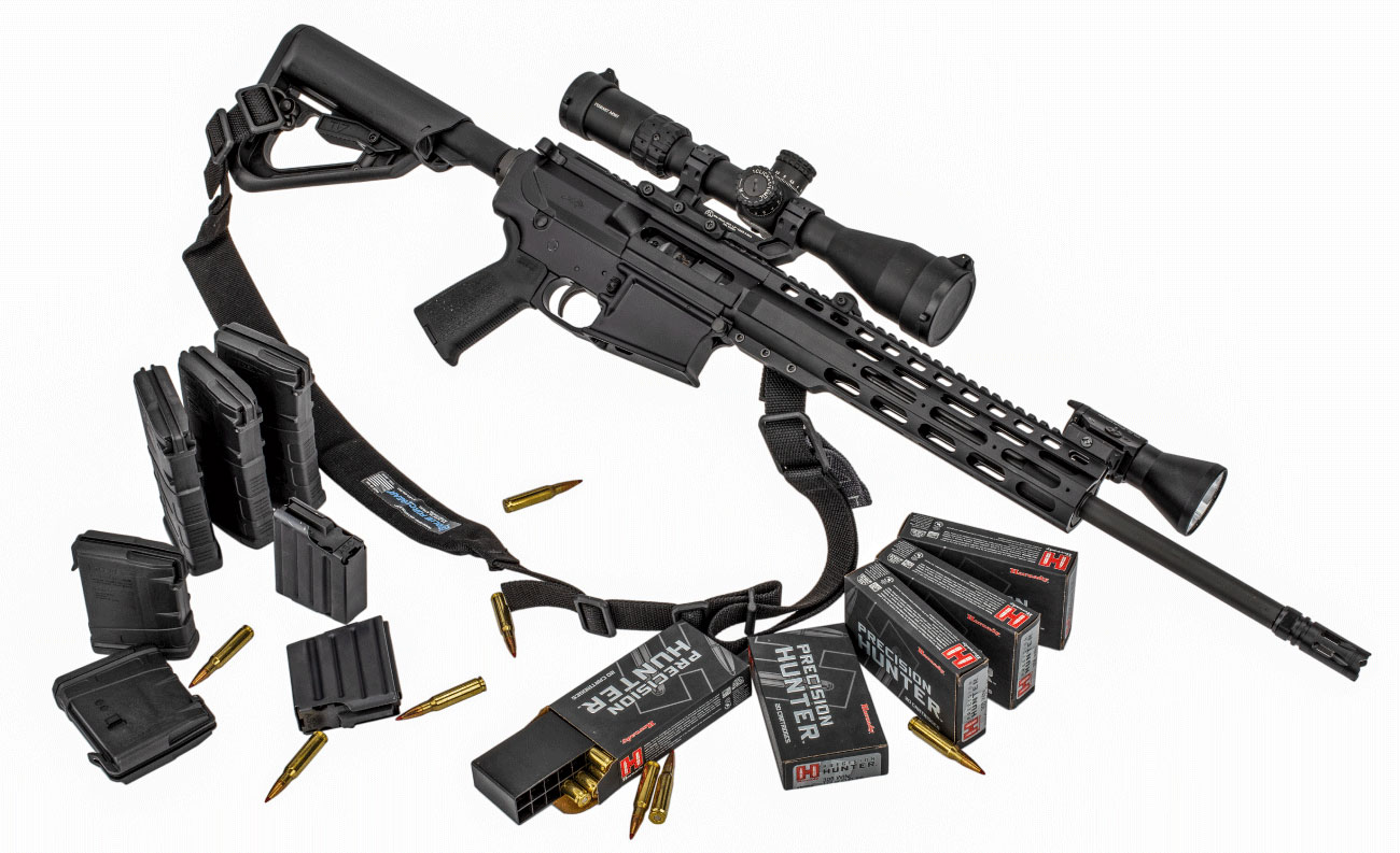 This giveaway package includes the outfitted rifle, with an ample supply of spare magazines and hunting-grade ammunition.