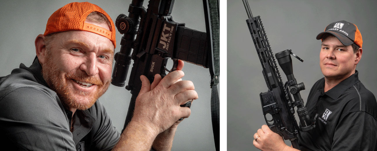 Max Rowe and Buck Buchannan from Just Kill'n Time TV, and Primary Arms optics team members.