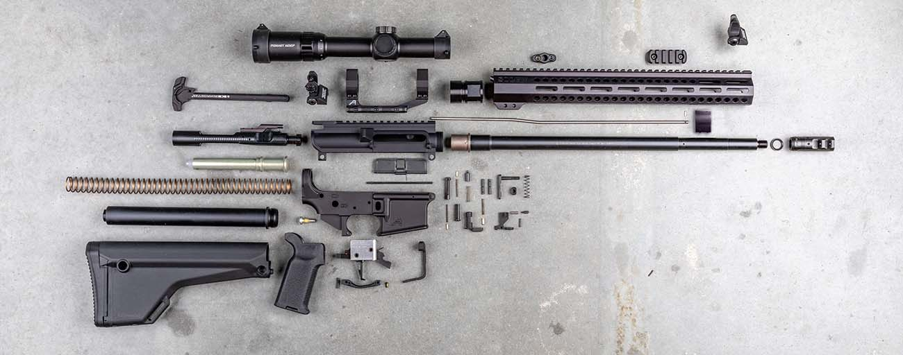 This exploded view of our 3 Gun rifle build showcases all the parts used in this complete build.