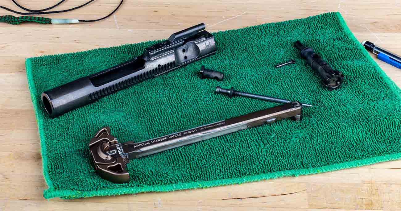 disassembled bolt carrier groups are easy to clean. This should be a necessary step of cleaning your AR-15.