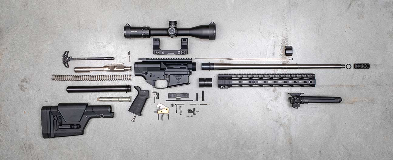 exploded view of this 6.5 Creedmoor AR-10 / AR-308 long range precision rifle and all parts.