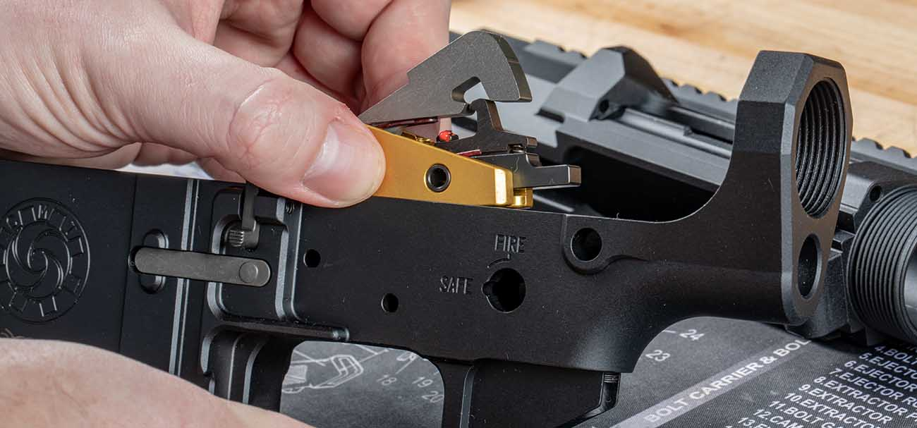 Timney Trigger instillation into AR-308 lower reciever.