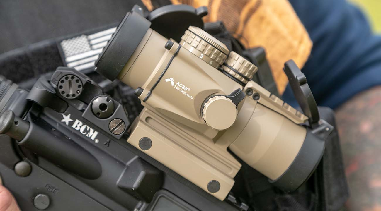The Gen II 3X Compact Prism scope with ACSS 5.56/5.45/.308 reticle.