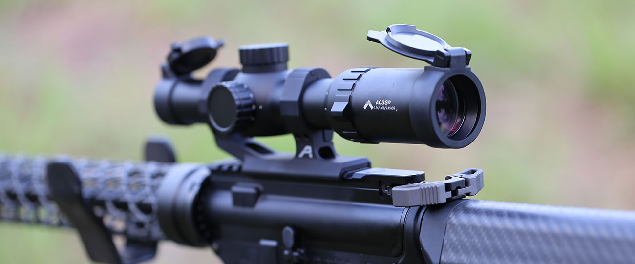 The Primary Arms 1-6x SFP and 1-8x SFP scopes feature the ACSS 5.56 / 5.54 / .308 Reticle.