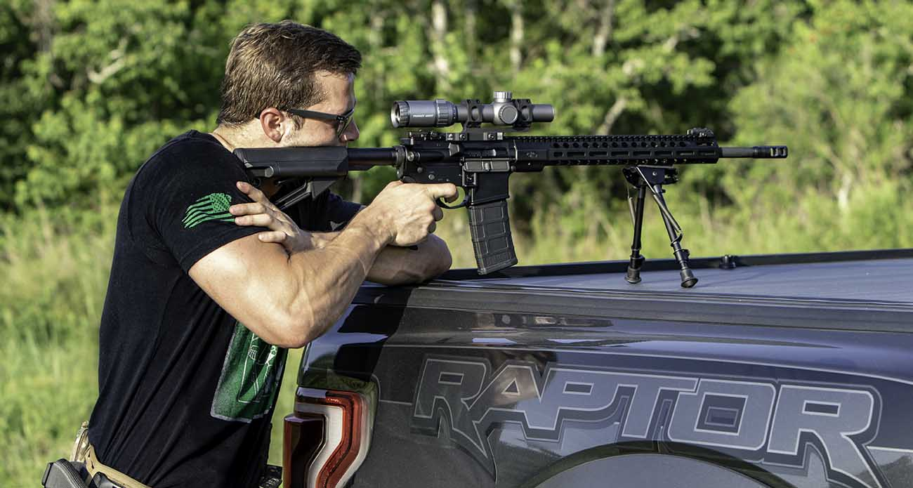 Shooting the Primary Arms ACSS Raptor scope off of a Ford Raptor F-150 truck.