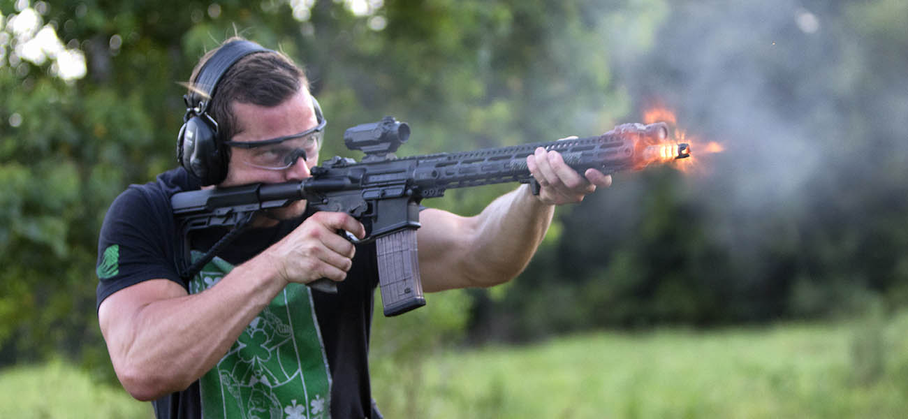 ACSS Cyclops on AR-15 with muzzle flash.